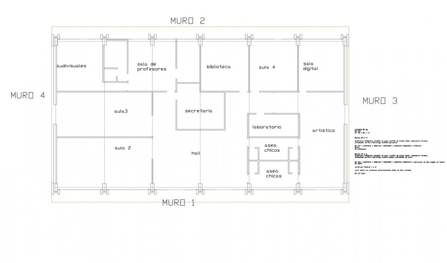 School floor layout plan details with wall sections dwg file