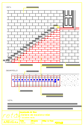 section drawing of stair way details drawing