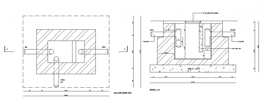 Section And Plan For Grease Trap Cad Drawing Details Dwg