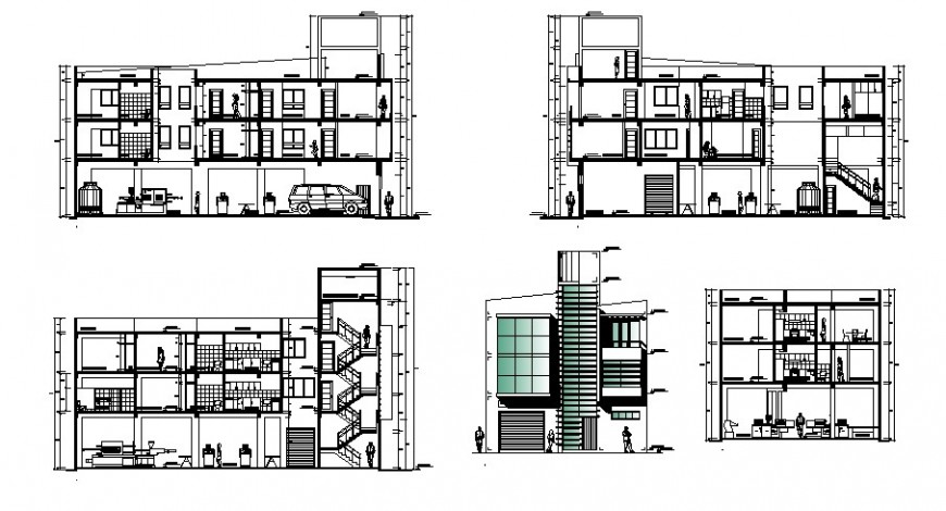 Section detail drawing of villa in dwg file.