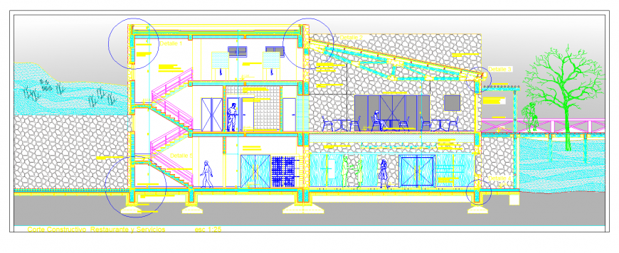 Section drawing of restaurant in dwg file.