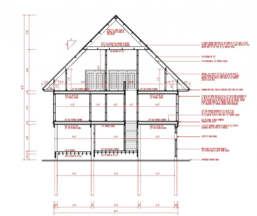 Section house planning autocad file