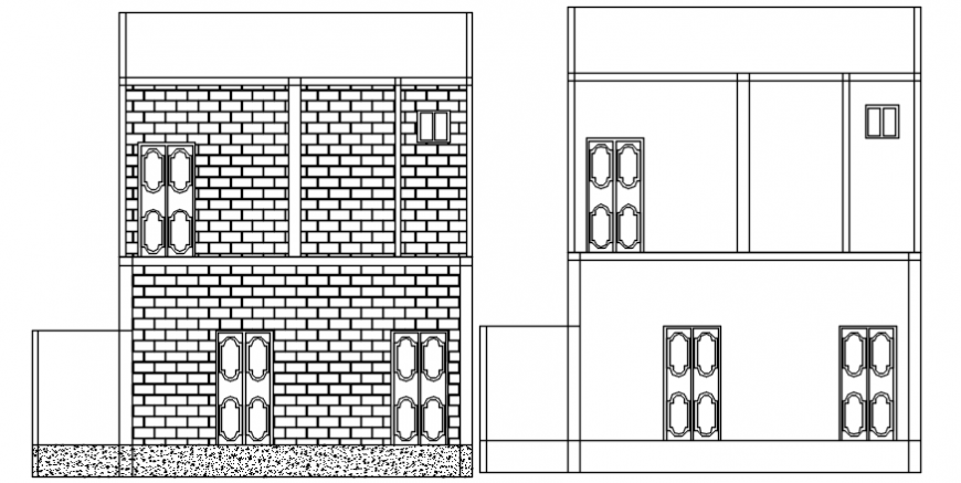 Section of a house autocad drawing