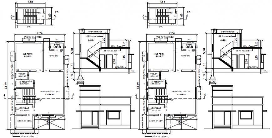 Sectional detail of a villa plan concept