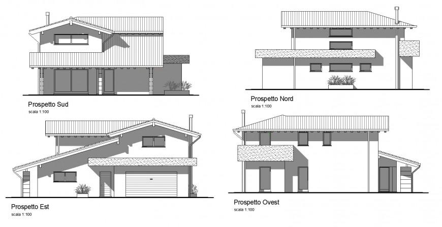 Shadow elevation of bungalow drawing in dwg AutoCAD file.