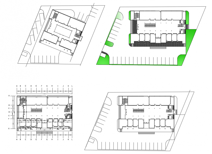 Shopping mall floor framing plan and structure cad drawing details dwg file