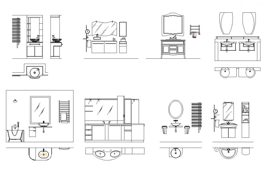 Showcase and bathroom detail elevation autocad file