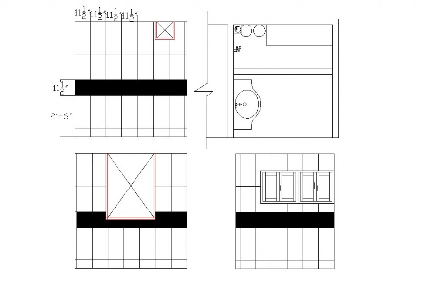 Shower area and washbasin detail drawing in dwg AutoCAD file.