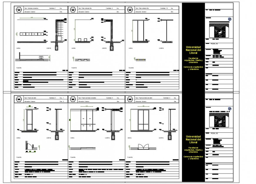 Single and double door detail plan, elevation and section autocad file