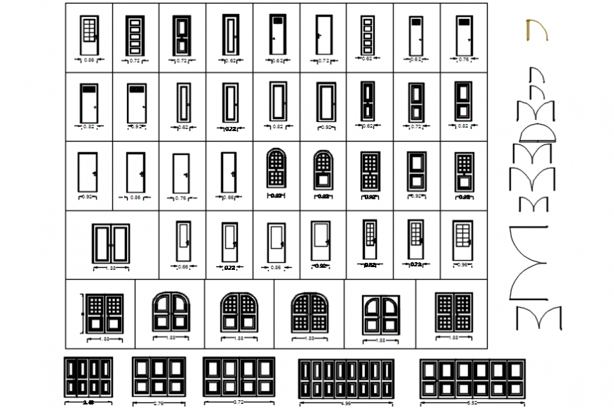 Single doors and double window elevation blocks cad drawing details dwg file