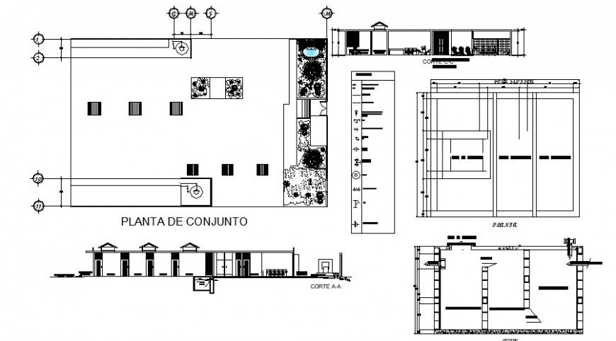 Single pipe line view plan elevation and section in auto cad