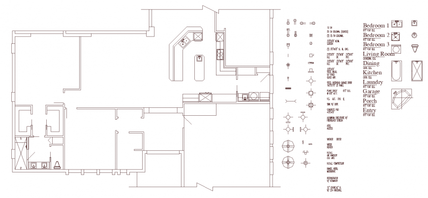 Single storey house with wall structure drawing in dwg AutoCAD file.