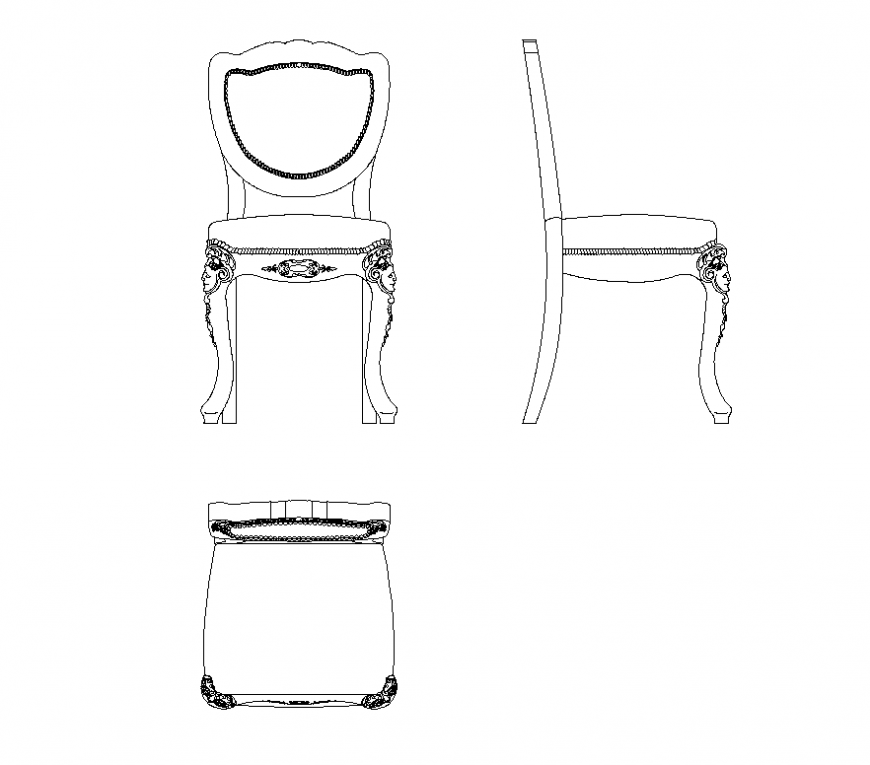 Awe Inspiring Sitting Chair Detail Elevation 2D View Cad Blocks Layout Gamerscity Chair Design For Home Gamerscityorg