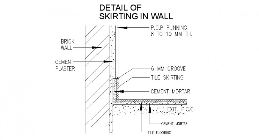 Skirting Wall Constructive Structure Cad Drawing Details