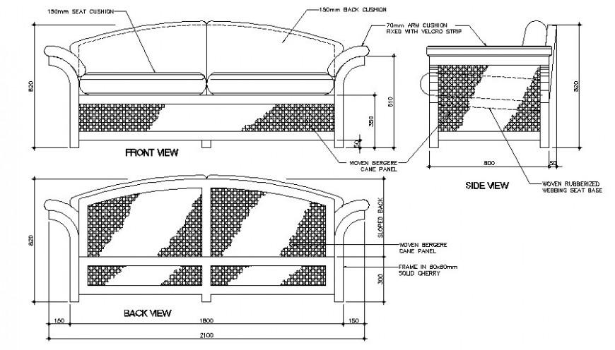 Sofa Set Units Detail 2d Drawing Of Furniture Block Autocad
