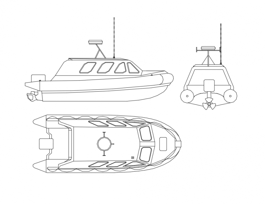 Speed boat front, side and top view cad block details dwg file
