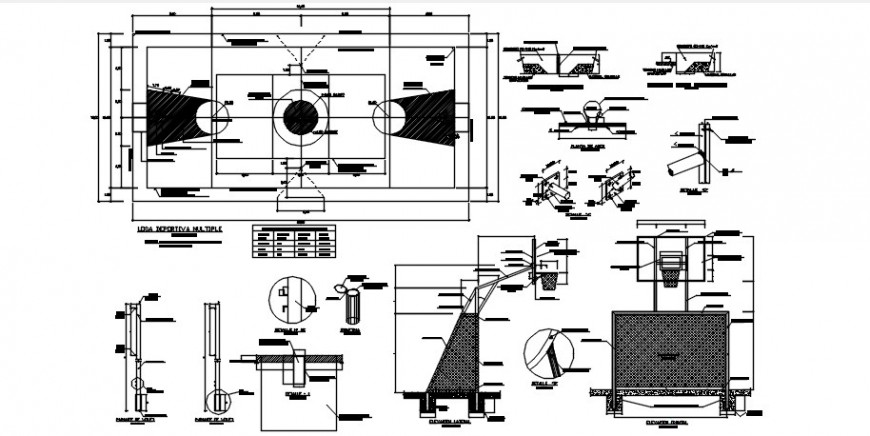 Square sports center plan and structure drawing details dwg file