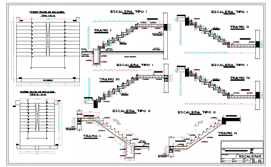 Stair Construction Detail Download in Autocad file