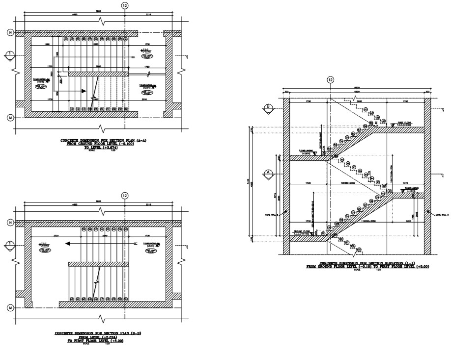 staircase plan and section detail of a building - Cadbull