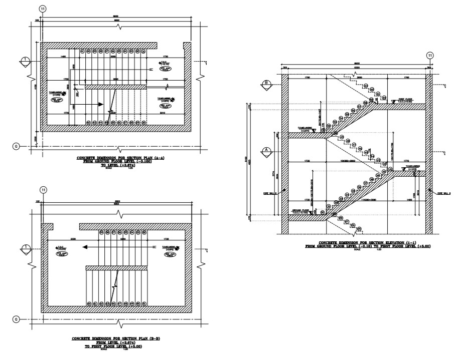 staircase detail ,plan and section