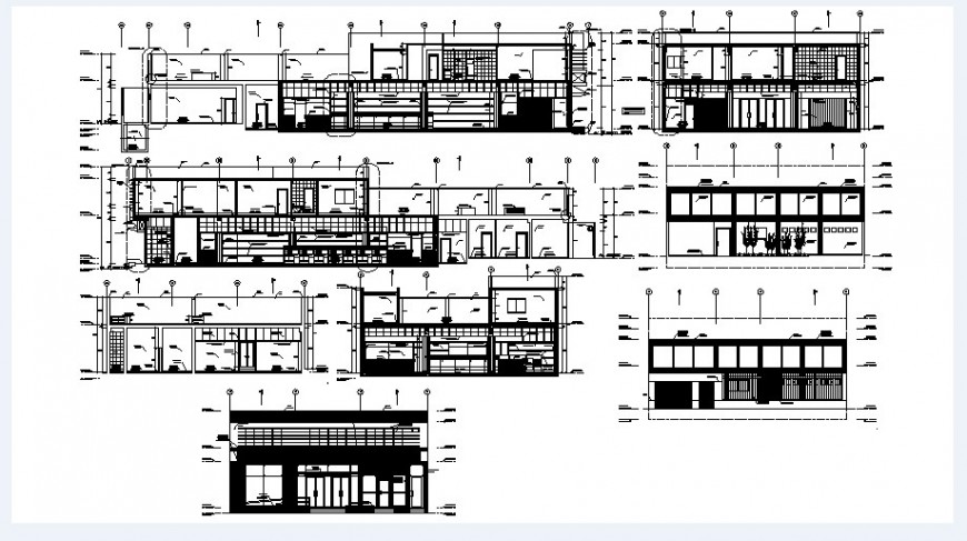 Standard school building elevations and section drawing details dwg file