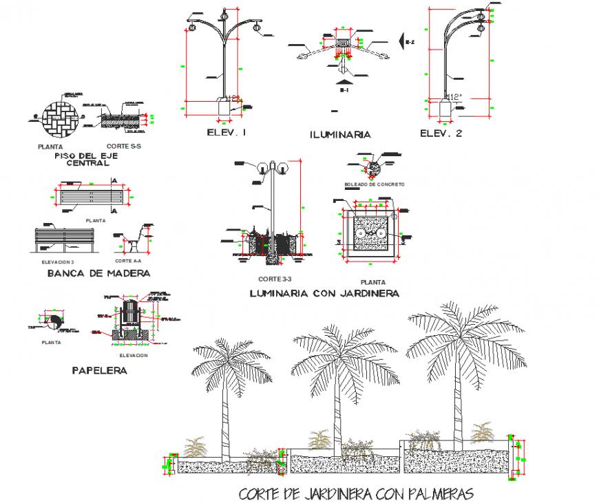 Street light section plan autocad file