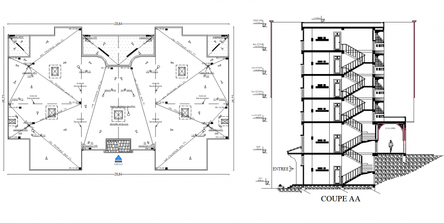 Terrace plan and section A-A' house plan autocad file