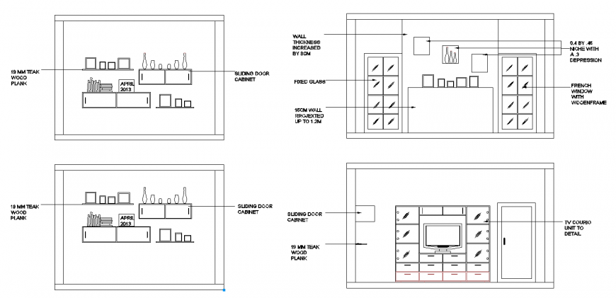 The living room plan with furnished detaili of dwg file.