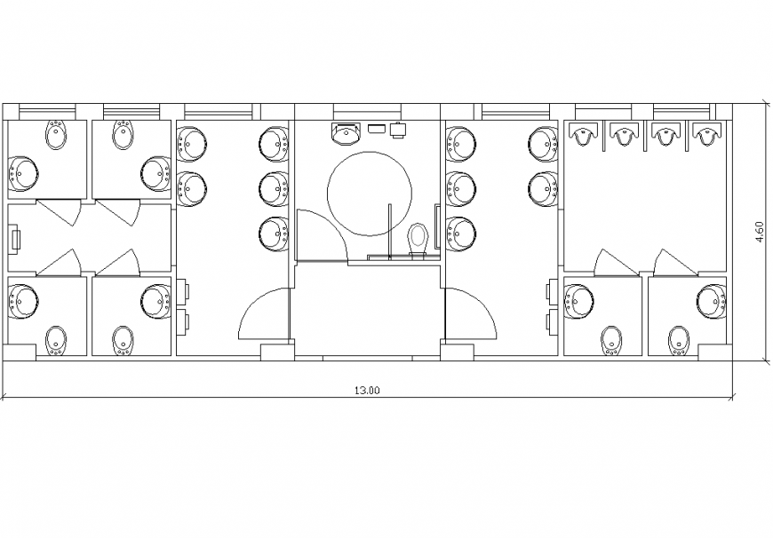 The public-bathroom plan with detail dwg file.