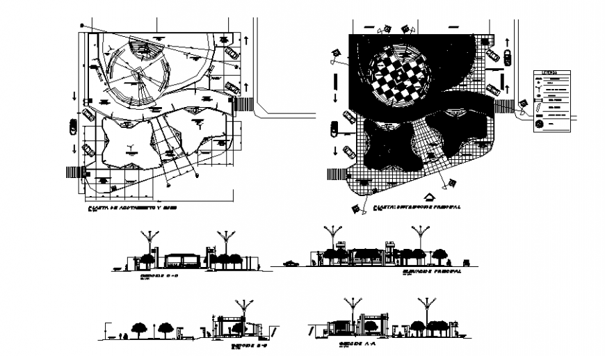 Theme park main gate elevation, section and landscaping structure details dwg file