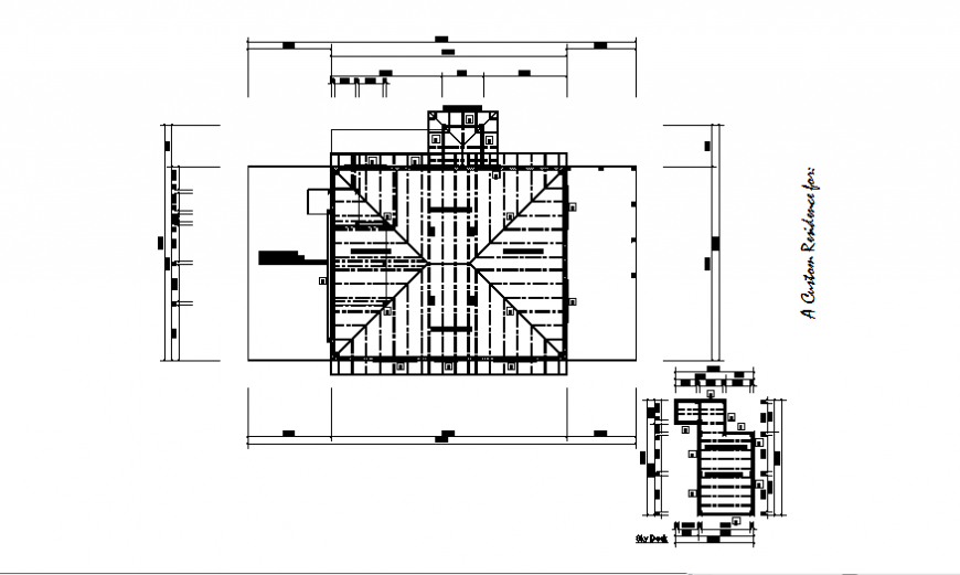 Third floor roof house plan autocad file