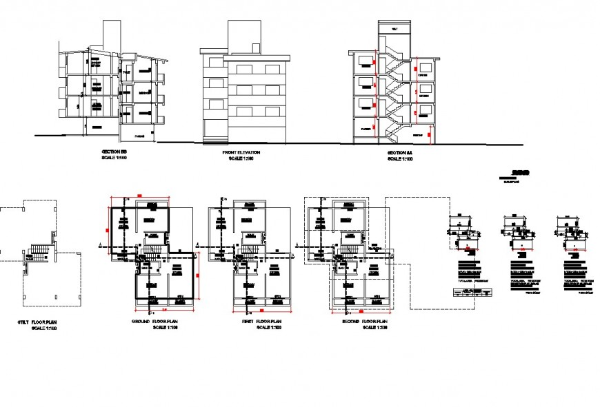 Three floor apartment flat detail plan elevation and