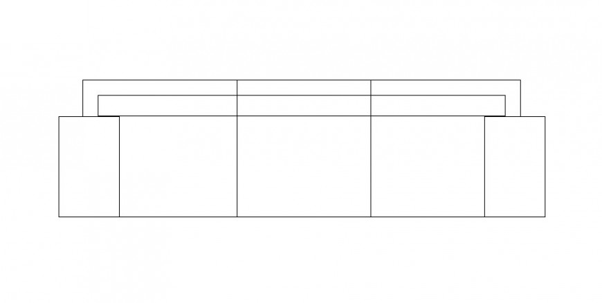 Three seated sofa set 2d top view elevation cad block details dwg file