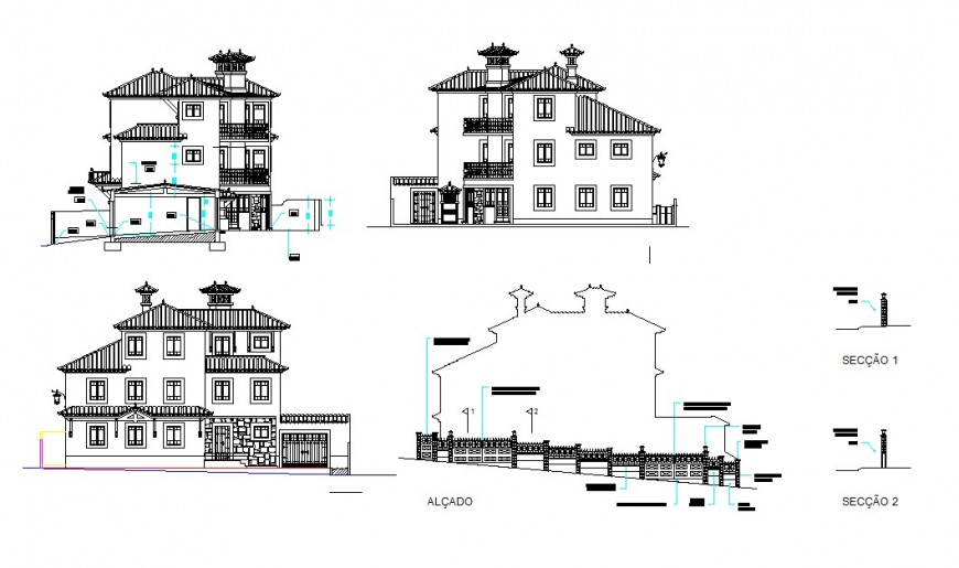 Traditional bungalow concept detail file