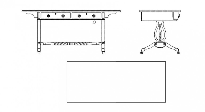 Traditional table sectional detail dwg file
