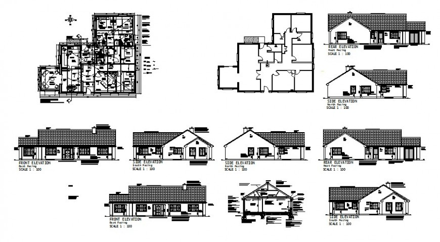 Traditional villa drawing in dwg file.