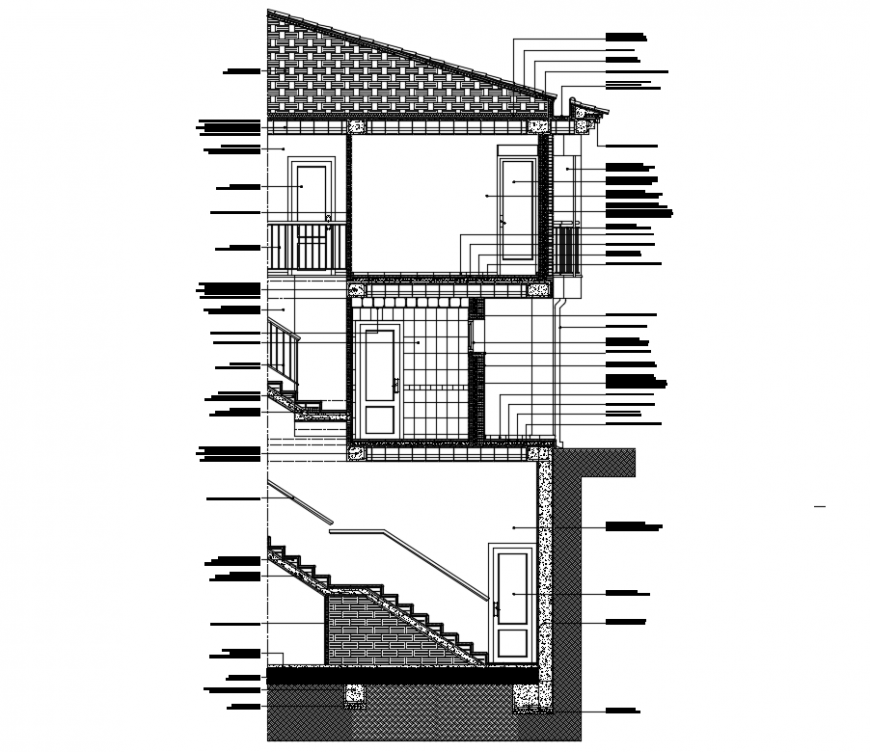 Two-level constructive and section of house cad drawing dwg file