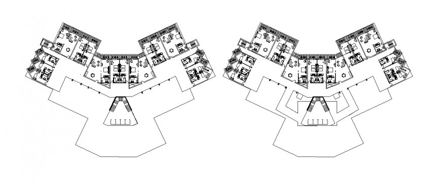 Two floor distribution details of multi-story five star hotel building dwg file