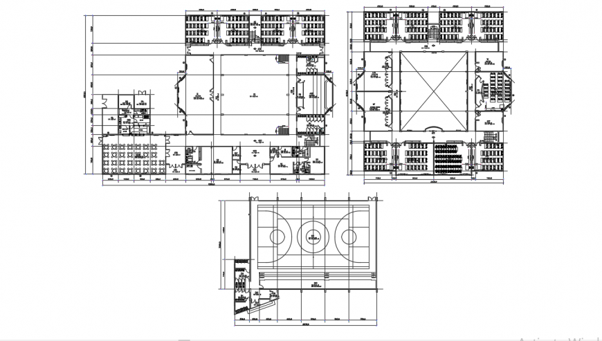 Two floor distribution with play ground for secondary school dwg file