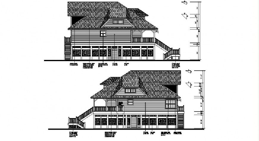 Two level cottage house front and back elevation drawing details dwg file