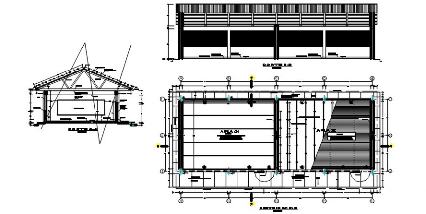 Two level primary school elevation, section and plan drawing details dwg file