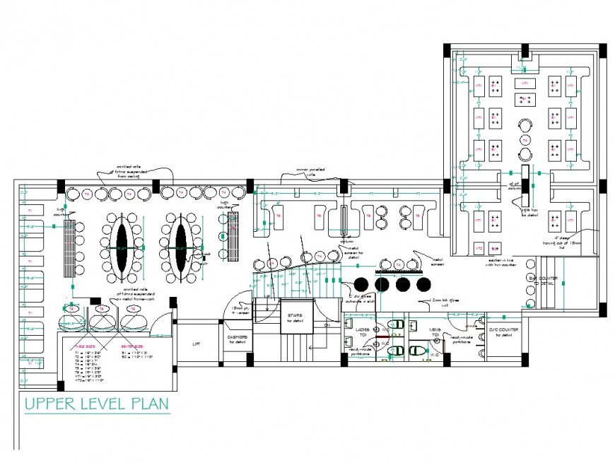 Upper level plan of restaurant planning layout file