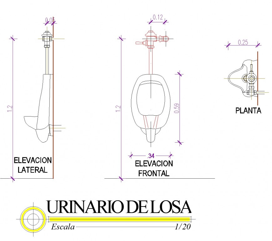 Urinal plan and elevation dwg file