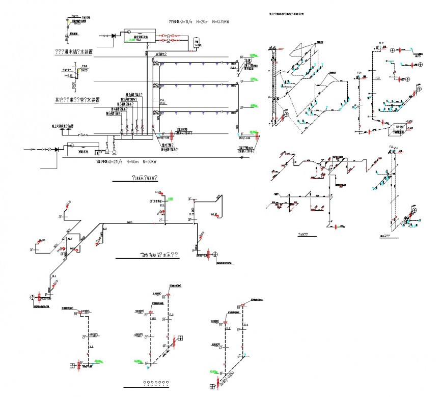 Water pipe line isometric view layout file