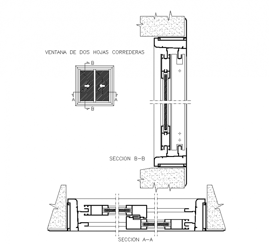 Window cross-section detail elevation 2d view layout file ...