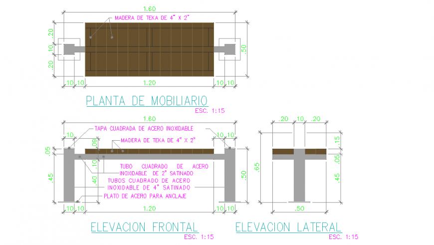 Wooden & Steel Material Furniture Detail