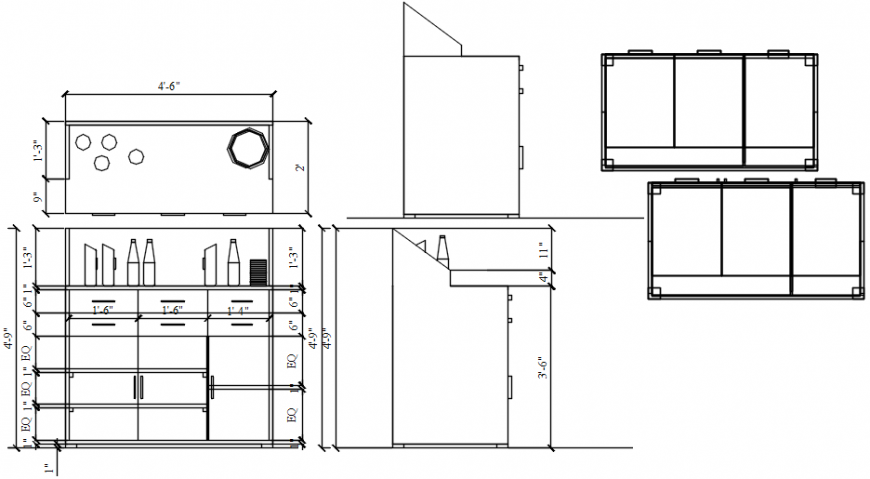 Wooden cabinet for shop cad drawing details dwg file